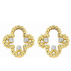 Diamond 14K Yellow Gold Clover Earring Charm