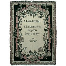 Personalized Grandmother Throw Floral Ribbon