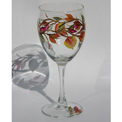 Fall Leaves Handpainted Wine Glass