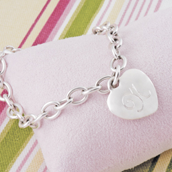 Personalized Heavy Weight Heart Charm Bracelet