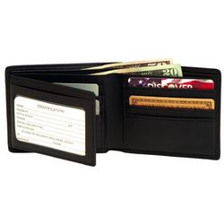 RFID Blocking Men's Bi-Fold Wallet with Double ID Flap