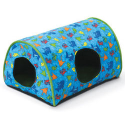 Kitty Camper Indoor Cat Bed in Fish Print