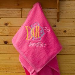 Girl's Pink Embroidered Beach Towel