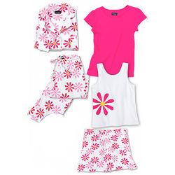 Deluxe Fuchsia Daisy Pajama Set with Shorts