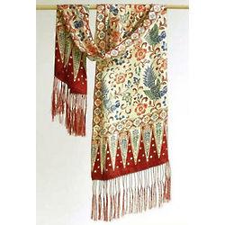 Crimson Paradise Silk Batik Scarf