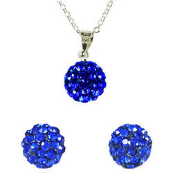 Blue Swarovski Crystal Disco Ball Necklace and Earring Set