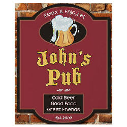 Cold Beer Pub Personalized Wall Sign