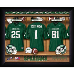 Personalized Michigan State Spartans Football Locker Room Print