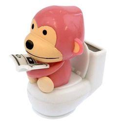 Pink Monkey on Toilet Solar Power Motion Toy