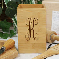 Engraved Script Monogram Bamboo Utensil Holder