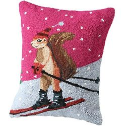Hand-Hooked Skiing Squirrel Pillow