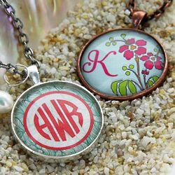 Glass Monogram Charm Necklace