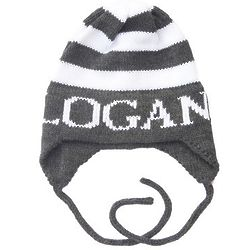 Kids Personalized Modern Stripe Hat with Earflaps