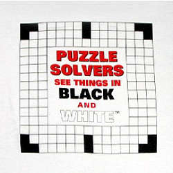 """Puzzle Solvers See Things In Black and White"" Crossword T-Shirt"