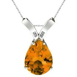 Pear Shaped Citrine and Diamond Pendant in 14K White Gold