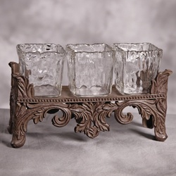 Rectangular 3 Glass Candle Holder