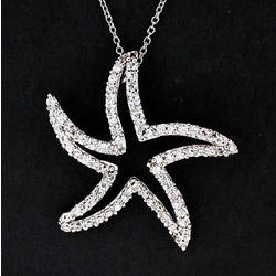 CZ Sterling Silver Starfish Necklace