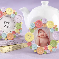 """Cute as a Button"" Round Photo Frame Favor"