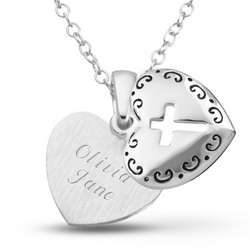 Personalized Sterling Silver Girl's Heart and Cross Necklace