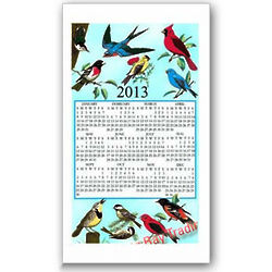 2013 Songbirds Calendar Towel