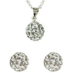 Swarovski Elements Clear Crystal Disco Ball Necklace and Earrings
