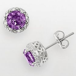 Sterling Silver Amethyst and Diamond Stud Earrings