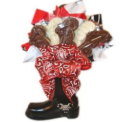 Motorcycle Boot Vase with Chocolate Pops