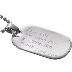 Personalized Stainless Steel Oval Dog Tag Pendant