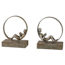 Contemporary Reader Bookends in Antique Silver Finish