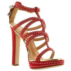 Italian Red Leather Sandal Clotilde Shoes