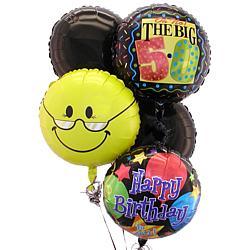 Happy 50th Birthday 5 Balloon Bouquet - FindGift.