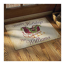 Personalized Happy Holidays Family Doormat