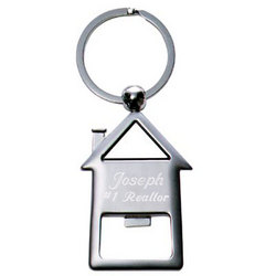 Personalized Brushed Silver House Shaped Opener Key Chain