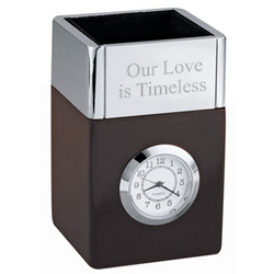 Polished Metal & Wood Pencil Cube Office Clock
