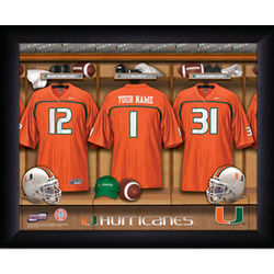 Personalized Miami Hurricanes Football Locker Room Framed Print