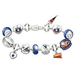 Go Tigers! #1 Fan Charm Bracelet with Swarovski Crystals