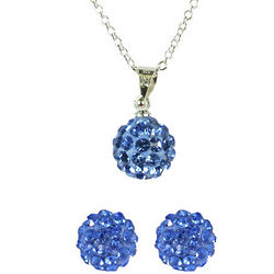 Light Blue Swarovski Crystal Disco Ball Necklace and Earring Set