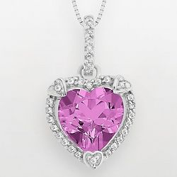 Pink Sapphire and Diamond Accent Heart Frame Pendant