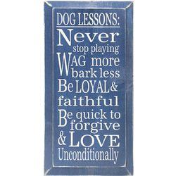 Dog Lessons Wood Sign