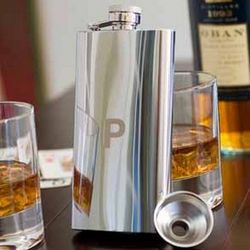 Personalized Stainless Slim Steel Chrome Plated Flask