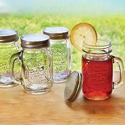 Mason Jar Handled Mugs with Lids