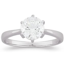 Sterling Silver Classic Cubic Zirconia Solitaire Engagement Ring
