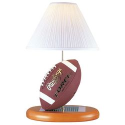 Table Lamp with Football Base and White Pleated Shade
