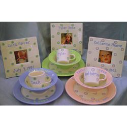 Personalized Ceramic Baby Cup, Bowl, and Plate