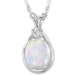 Shimmering Elegance Australian Opal and Diamond Necklace