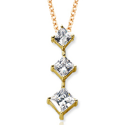 18K Yellow Gold Princess Stem Diamond Pendant