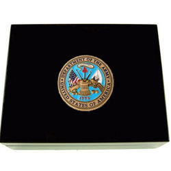 Wood Military Memory Box with Brass Medallion