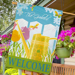 Personalized Watering Can House Flag