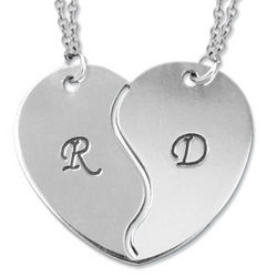Breakable Heart Necklace with Initial Engraving