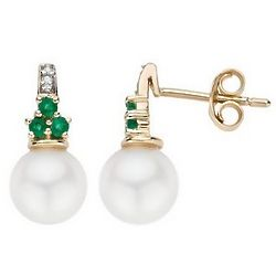 Cultured Pearl Emerald and Diamond 14K Gold Earrings